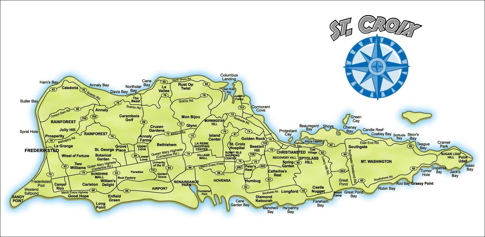 St. Croix Virgin Islands Map